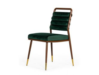 Modrest Biscay - Modern Dark Green & Walnut Steel Dining Chair