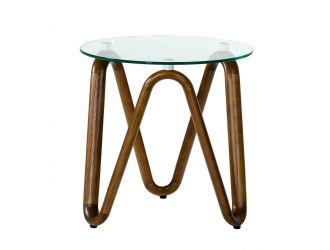 Modrest Lassen - Modern Glass & Walnut End Table
