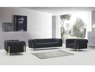 Divani Casa Sheila - Modern Dark Grey Fabric Sofa Set