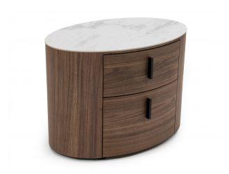 Modrest Chelton - Contemporary White Ceramic & Walnut Oval Nightstand