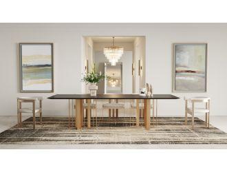 Modrest Livia - Modern Wenge & Gold Stainless Steel Dining Table