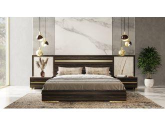 Nova Domus Velondra - Modern Eucalypto + Marble Bed with Two Nightstands