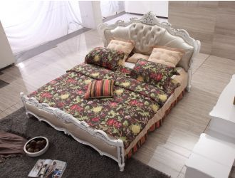 Modrest BL9051 Transitional Beige Leather Queen Bed