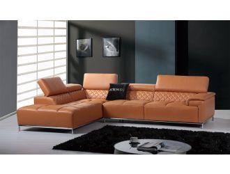 Divani Casa Citadel - Modern Orange Italian Leather Left Facing Sectional Sofa