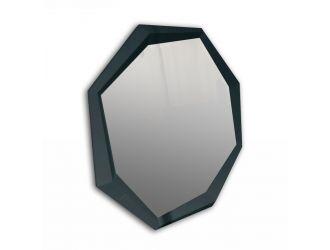 A&X Octagon Modern Black Crocodile Lacquer Mirror