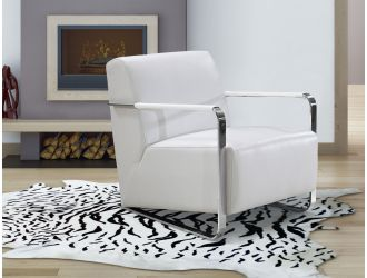 Bison Modern White Leather Lounge Chair