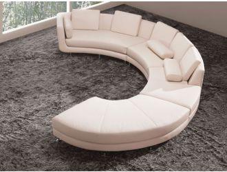 Divani Casa A94 - Contemporary White Sectional Sofa & Ottoman