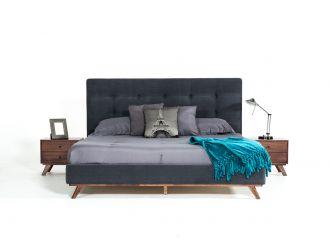 Modrest Addison Mid-Century Modern Grey Fabric & Walnut Bed