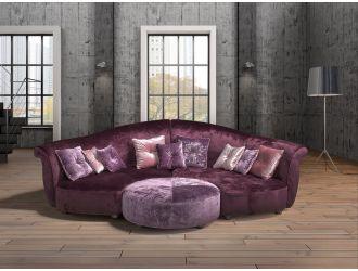 Estro Salotti Allegretto Modern Purple Fabric Sectional Sofa