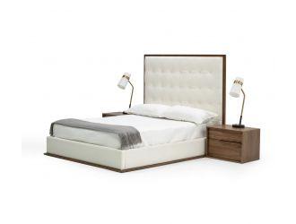 Modrest Amberlie - White Vegan Leather & Walnut Bed