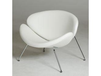 Modrest Anais Mid-Century White Leatherette Accent Chair