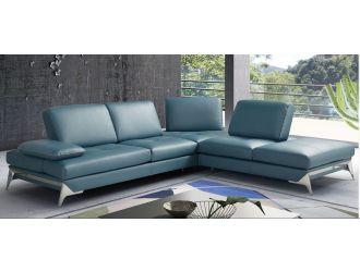 Nova Domus Andrea - Modern Blue Leather Right Facing Sectional Sofa