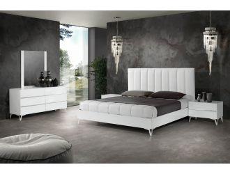 Nova Domus Angela - Italian Modern White Eco Leather Bed w/ Nightstands