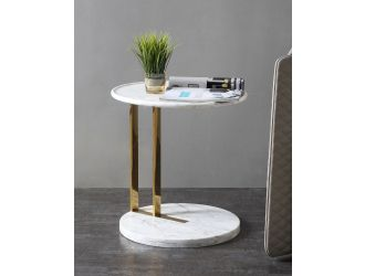 Modrest Aries - Contemporary White Marble & Gold End Table