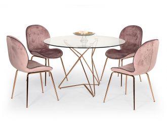 Modrest Ashland Mid-Century Glass Round Dining Table