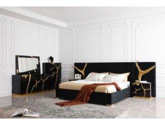 Modrest Aspen - Modern Black + Gold Bed + Nightstands