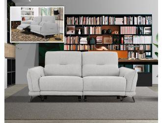 Divani Casa Austria - Modern Grey 3-Seater Fabric Sofa w/ Electric Recliners