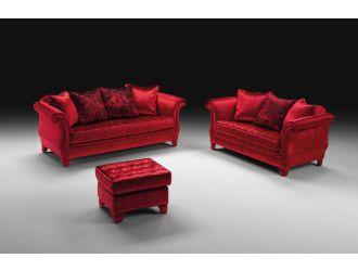 Estro Salotti Avalon Modern Red Fabric Sofa Set