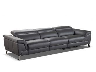 Accenti Italia Azur Italian Modern Grey Leather Sofa w/ 2 Recliners