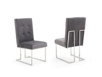 Modrest Legend Modern Grey Fabric & Stainless Steel Dining Chair (Set of 2)