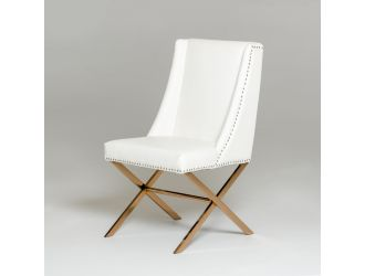 Modrest Alexia - Modern White + Rosegold Dining Chair