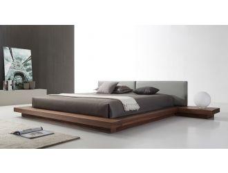 Modrest Opal Modern Walnut & Grey Platform Bed
