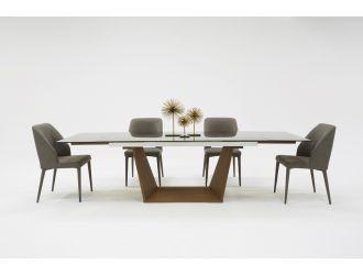 Modrest Babia Modern Smoked Glass & Walnut Extendable Dining Table