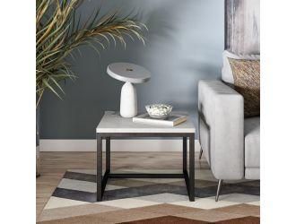 Modrest Baca - White Marble + Black Metal End Table