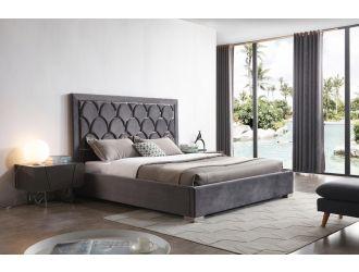 Modrest Audrey Modern Grey Velvet & Stainless Steel Bed