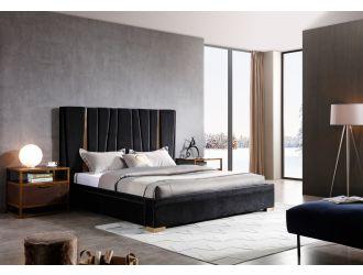 Modrest Evonda Modern Black Velvet & Brass Bed
