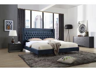 Modrest Wales Modern Blue Fabric Bed