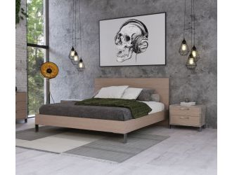 Nova Domus Boston - Modern Brown Oak & Brushed Stainless Steel Bed