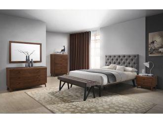 Modrest Gibson Modern Grey & Walnut Bedroom Set