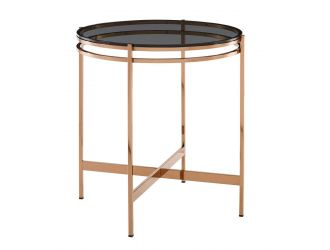 Modrest Bradford - Modern Smoked Glass & Rosegold Small End Table