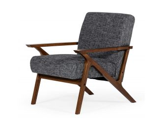Modrest Candea - Mid-Century Walnut and Grey Accent Chair