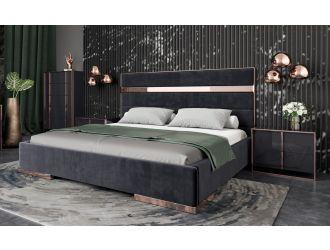 Nova Domus Cartier Modern Black Velvet & Rosegold Bed
