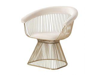 Modrest Chandler - Modern Beige Velvet & Gold Dining Chair