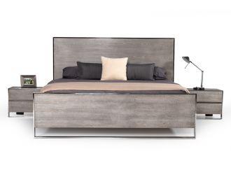 Modrest Charlene Modern Grey Elm & Stainless Steel Bed