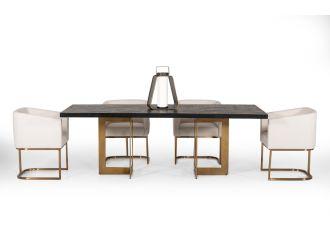 Modrest Cheryl Modern Black Acacia & Antique Brass Dining Table