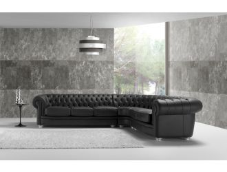 Estro Salotti Chester Modern Black Leather Sectional Sofa