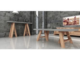Modrest Civic Modern Concrete & Acacia Coffee Table