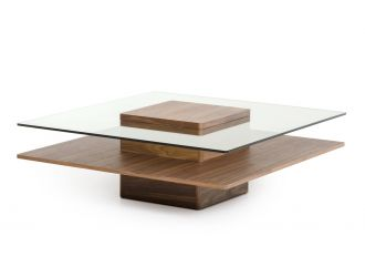 Modrest Clarion Mid-Century Walnut and Glass Coffee Table