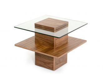 Modrest Clarion Mid-Century Walnut and Glass End Table
