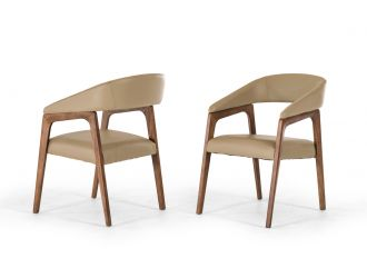 Modrest Clive Mid-Century Taupe & Walnut Dining Chair