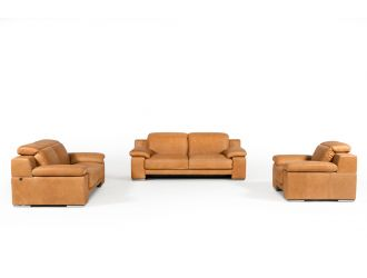Estro Salotti Evergreen Italian Modern Cognac Leather Sofa Set