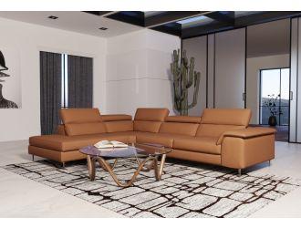 Coronelli Collezioni Viola - Italian Contemporary Cognac Leather Left Facing Sectional Sofa