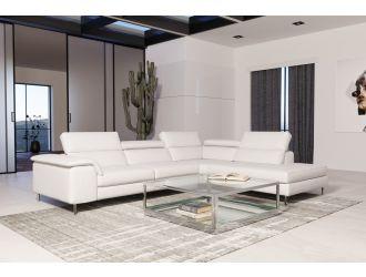 Coronelli Collezioni Viola - Italian Contemporary White Leather Right Facing Sectional Sofa