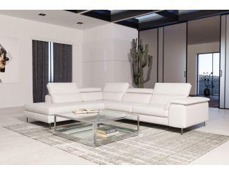 Coronelli Collezioni Viola - Italian Contemporary White Leather Left Facing Sectional Sofa