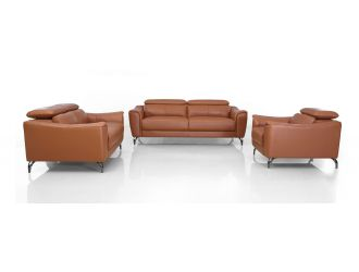 Divani Casa Danis - Modern Cognac Leather Brown Sofa Set