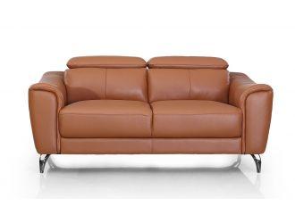 Divani Casa Danis - Modern Cognac Leather Brown Loveseat